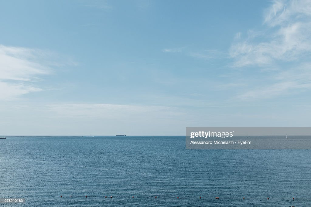 Scenic View Of Sea Against Blue Sky : Stock Photo