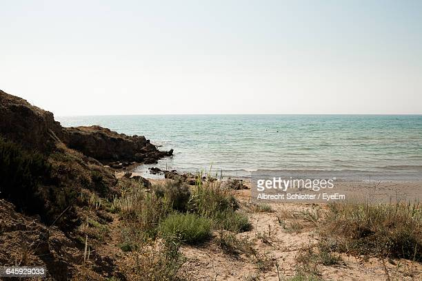scenic view of sea against blue sky - albrecht schlotter stock photos and pictures
