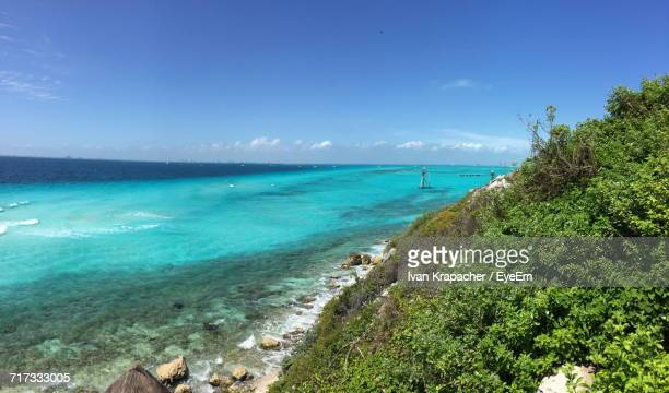 scenic view of sea against blue sky - isla mujeres stock photos and pictures