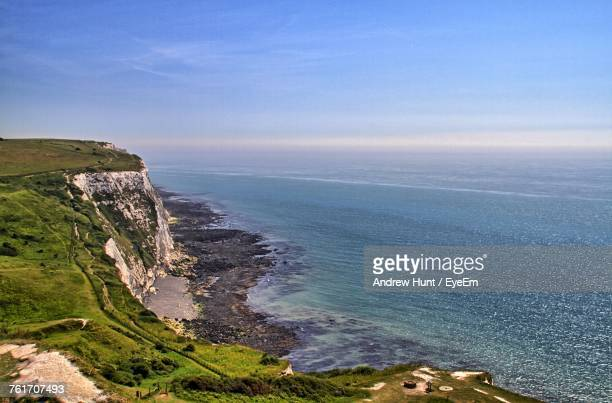 scenic view of sea against blue sky - dover england stock pictures, royalty-free photos & images