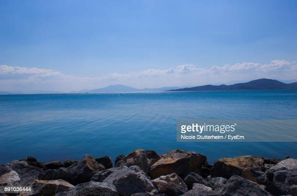 scenic view of sea against blue sky - stutterheim stock photos and pictures