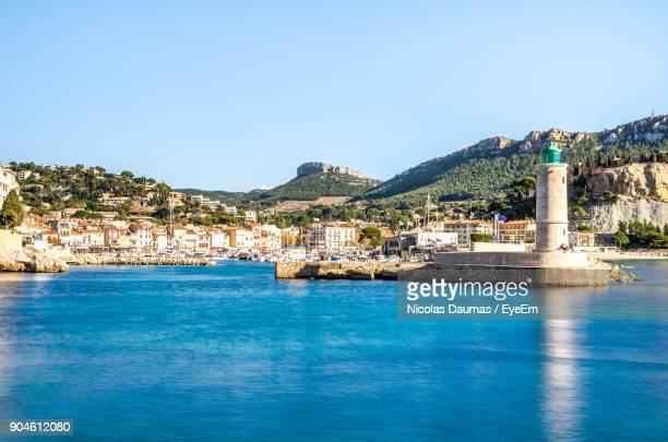 scenic view of sea against blue sky - cassis stock pictures, royalty-free photos & images