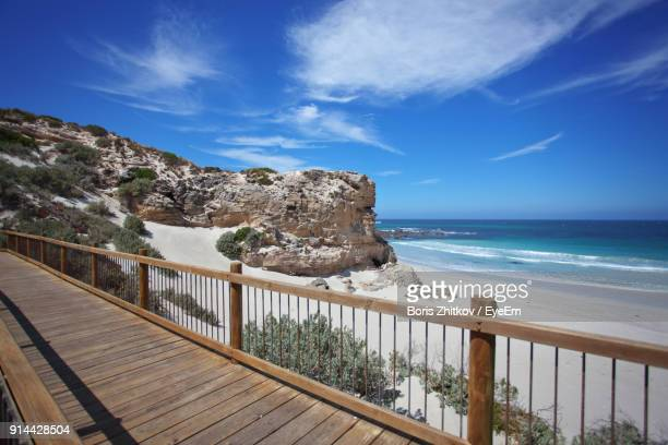 scenic view of sea against blue sky - kangaroo island stock photos and pictures