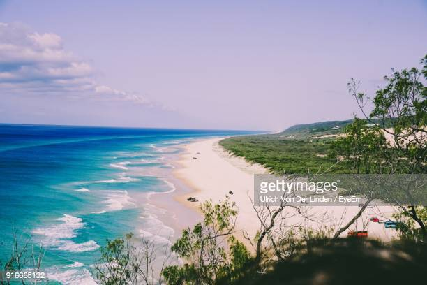 scenic view of sea against blue sky - sunshine coast australia stock pictures, royalty-free photos & images