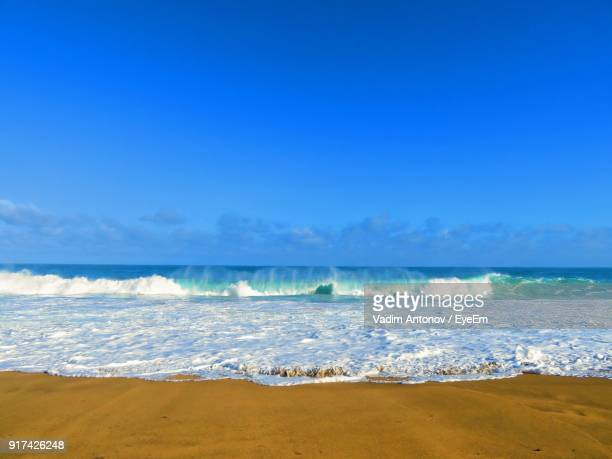 scenic view of sea against blue sky - antonov stock pictures, royalty-free photos & images
