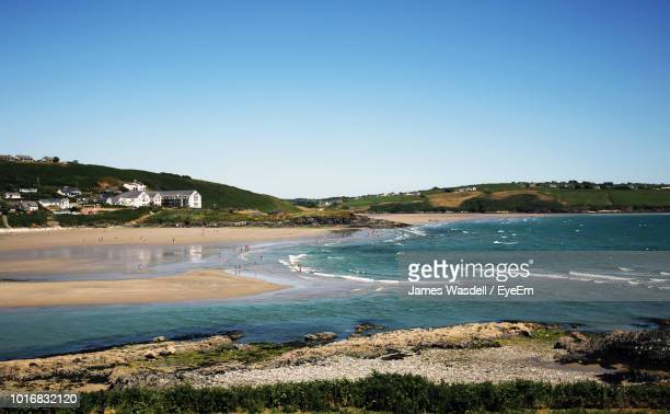 scenic view of sea against clear blue sky - county cork stock pictures, royalty-free photos & images