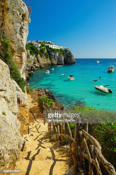 scenic view of sea against clear blue sky - balearic islands stock pictures, royalty-free photos & images