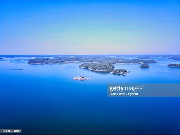 scenic view of sea against clear blue sky - トゥルク ストックフォトと画像