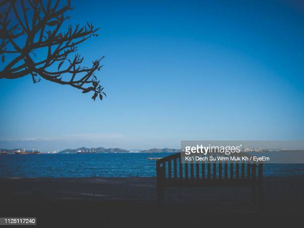 scenic view of sea against clear blue sky - ksi stock photos and pictures