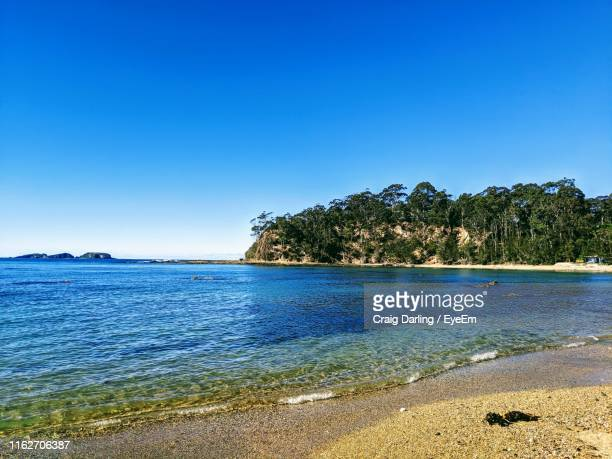 scenic view of sea against clear blue sky - batemans bay stock pictures, royalty-free photos & images