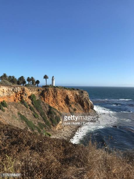 scenic view of sea against clear blue sky - rancho palos verdes stock pictures, royalty-free photos & images