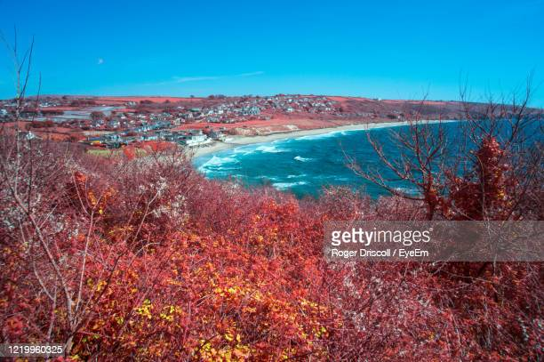 scenic view of sea against clear blue sky - autumn stock pictures, royalty-free photos & images