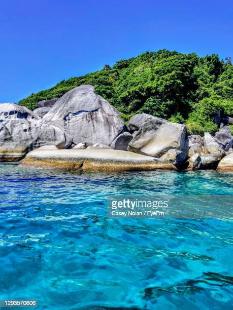 scenic view of sea against clear blue sky - casey nolan stock pictures, royalty-free photos & images