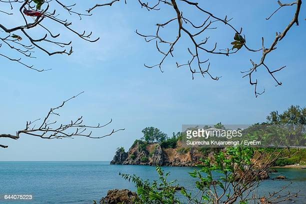 scenic view of sea against clear blue sky - chanthaburi stock pictures, royalty-free photos & images
