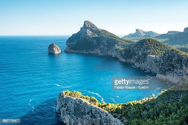 scenic view of sea against clear blue sky - majorca stock pictures, royalty-free photos & images