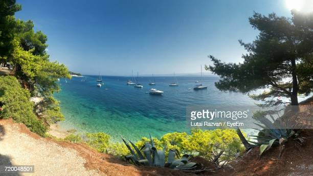 scenic view of sea against clear blue sky - lutai razvan stock pictures, royalty-free photos & images