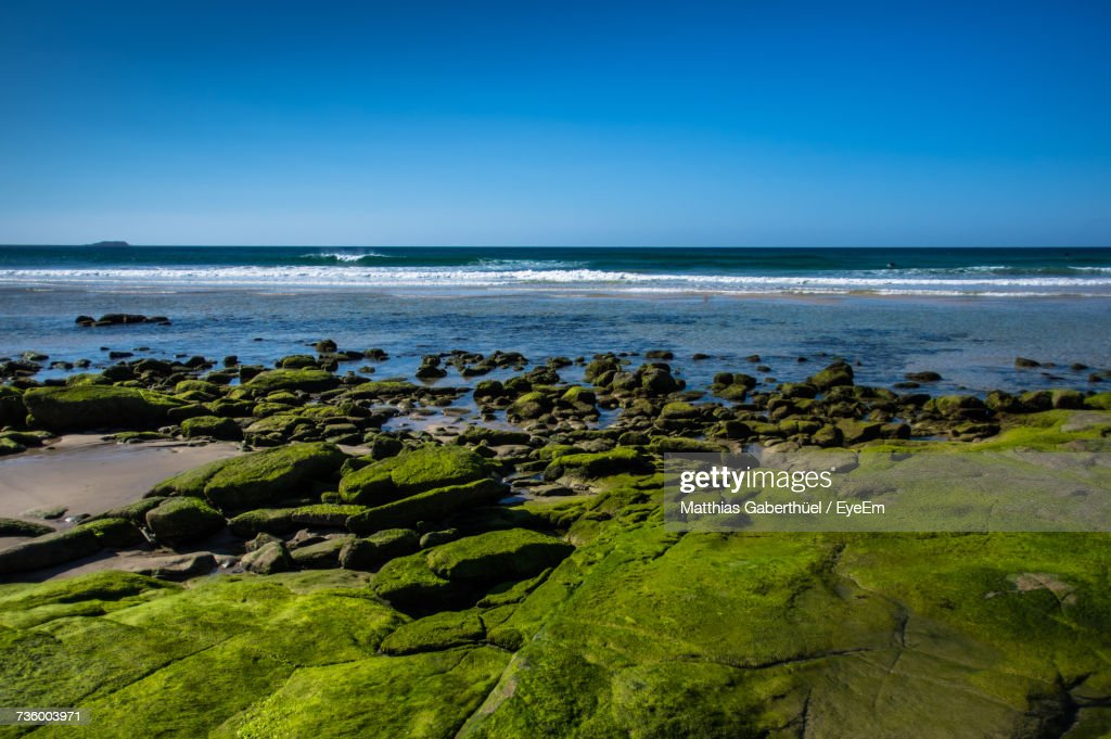 Scenic View Of Sea Against Clear Blue Sky : Foto de stock