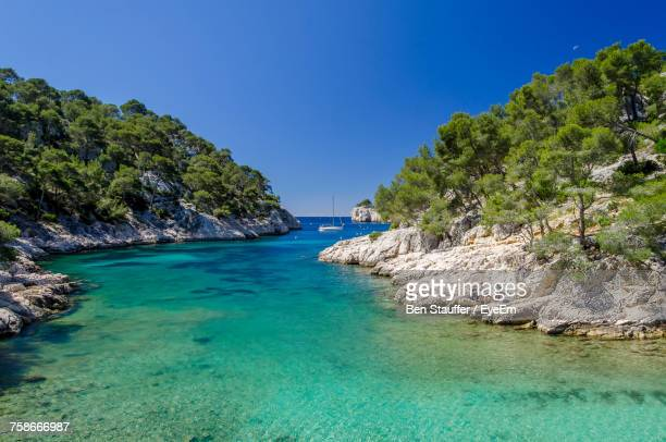 scenic view of sea against clear blue sky - bouches du rhone stock pictures, royalty-free photos & images