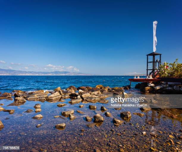 scenic view of sea against clear blue sky - reggio calabria stock pictures, royalty-free photos & images