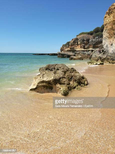 scenic view of sea against clear blue sky - moura stock photos and pictures