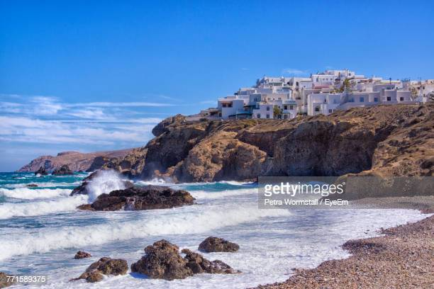 scenic view of sea against clear blue sky - naxos stockfoto's en -beelden