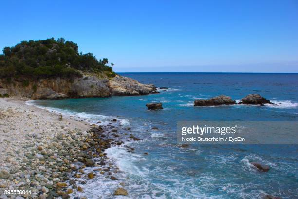 scenic view of sea against clear blue sky - stutterheim stock photos and pictures
