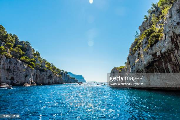 scenic view of sea against clear blue sky - cassis stock pictures, royalty-free photos & images