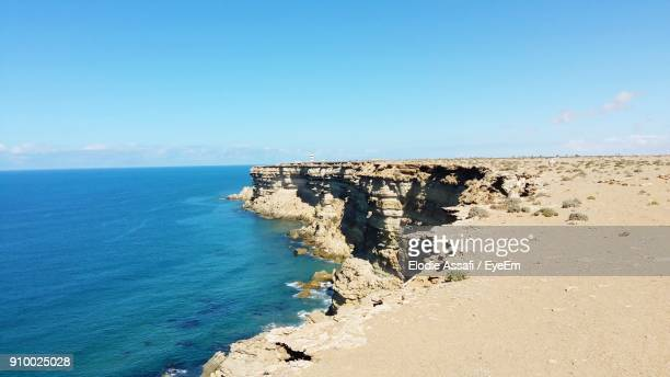 scenic view of sea against clear blue sky - agadir stock pictures, royalty-free photos & images