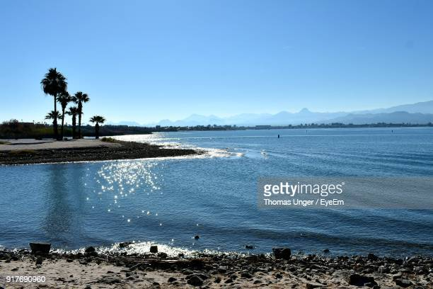 scenic view of sea against clear blue sky - lake havasu stock photos and pictures