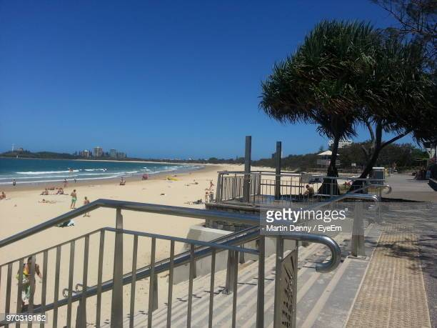 scenic view of sea against clear blue sky - mooloolaba stock pictures, royalty-free photos & images
