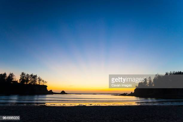 scenic view of sea against clear sky at sunset bay state park - sunset bay state park stock pictures, royalty-free photos & images