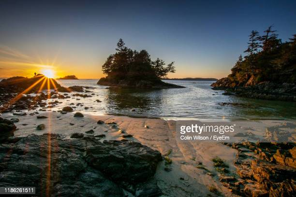scenic view of sea against clear sky at sunset - vancouver island stock pictures, royalty-free photos & images