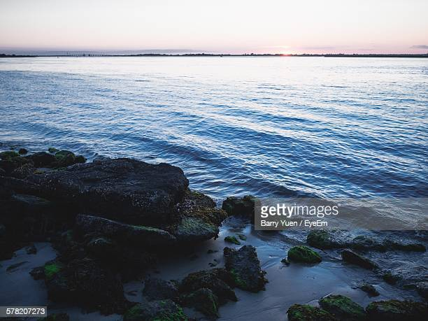 scenic view of sea against clear sky at sunset - wantagh stock pictures, royalty-free photos & images