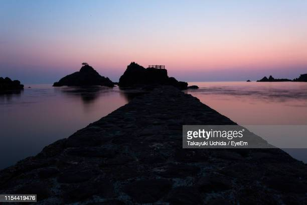 scenic view of sea against clear sky during sunset - fukui prefecture stock pictures, royalty-free photos & images