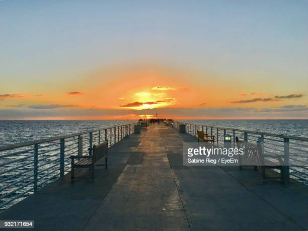 scenic view of sea against clear sky during sunset - hermosa beach stock pictures, royalty-free photos & images