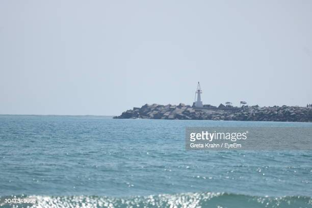 scenic view of sea against clear sky - タマウリパス州 ストックフォトと画像