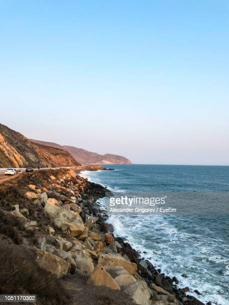 scenic view of sea against clear sky - santa barbara stock photos and pictures