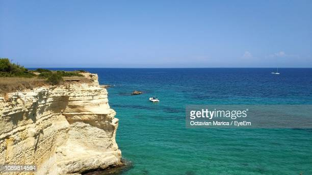 scenic view of sea against clear sky - marica octavian stock photos and pictures