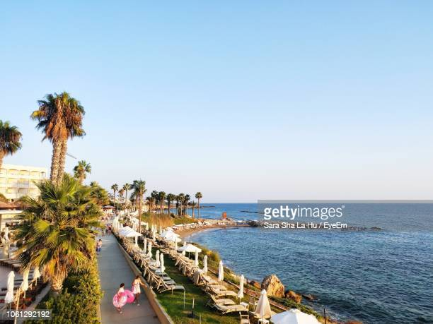 scenic view of sea against clear sky - repubiek cyprus stockfoto's en -beelden