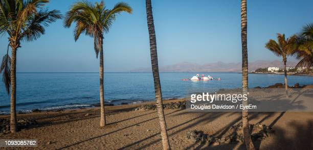 scenic view of sea against clear sky - puerto del carmen stock pictures, royalty-free photos & images