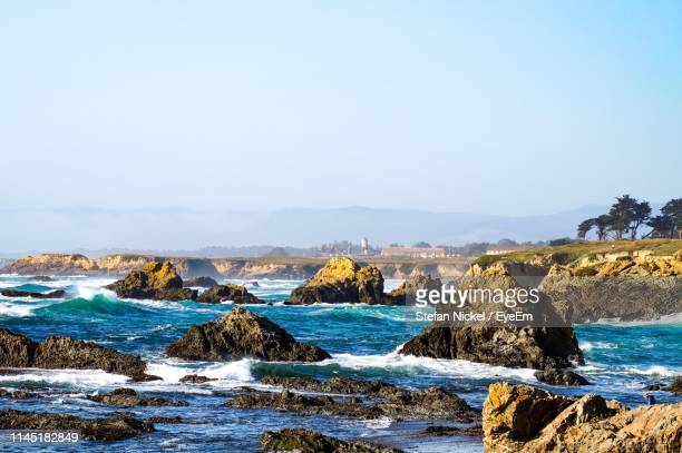 scenic view of sea against clear sky - fort bragg stock pictures, royalty-free photos & images