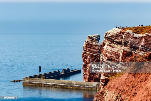 scenic view of sea against clear sky - helgoland stock pictures, royalty-free photos & images