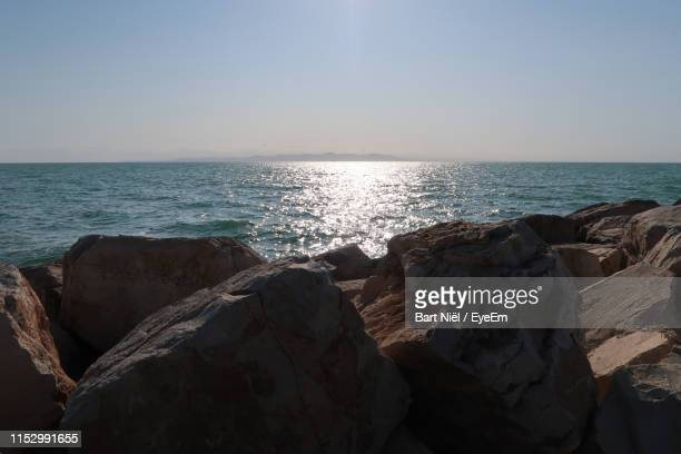 scenic view of sea against clear sky - tunis stock pictures, royalty-free photos & images