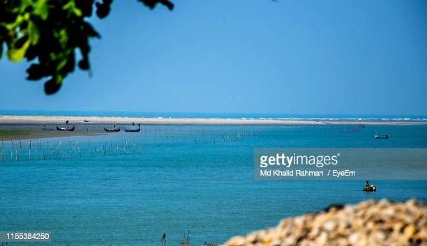 scenic view of sea against clear sky - cox's bazaar stock pictures, royalty-free photos & images