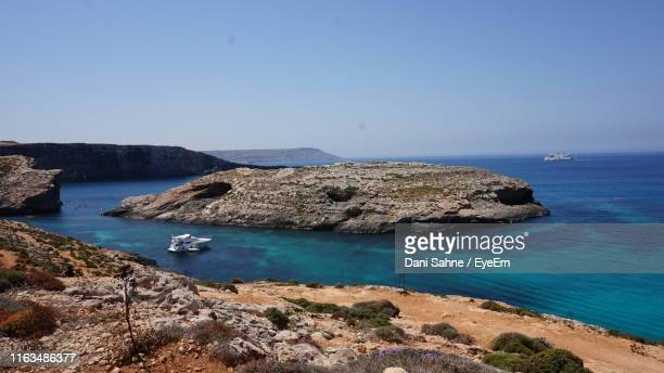 scenic view of sea against clear sky - sahne stock pictures, royalty-free photos & images
