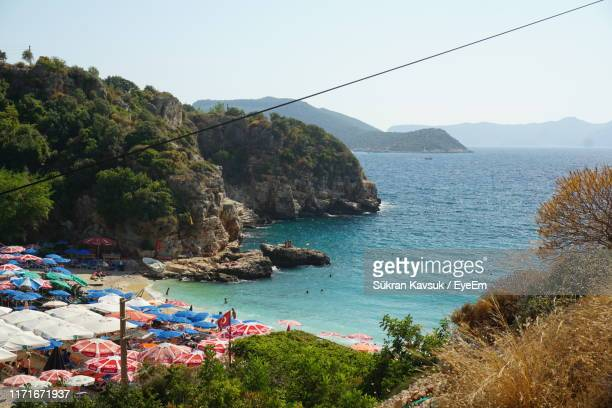 scenic view of sea against clear sky - kas stock pictures, royalty-free photos & images