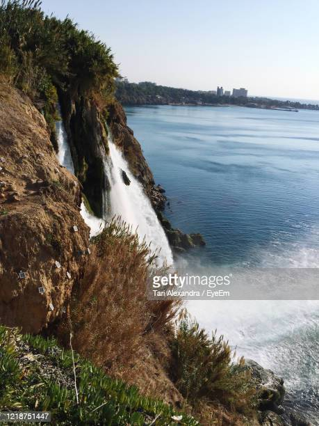 scenic view of sea against clear sky - tari stock pictures, royalty-free photos & images
