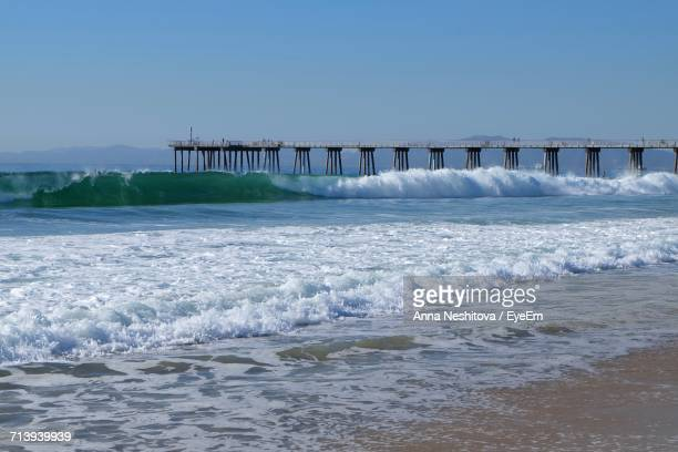 scenic view of sea against clear sky - hermosa beach stock pictures, royalty-free photos & images