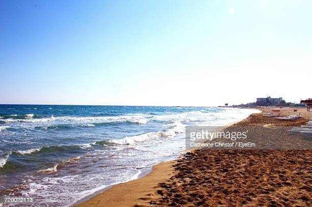 scenic view of sea against clear sky - piraeus stock photos and pictures