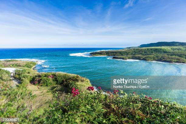 scenic view of sea against clear sky - guam stock pictures, royalty-free photos & images